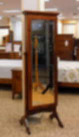 New On Display Jewelry Cheval Mirror  Solid Rustic Cherry in Michaels OCS113 23in W x 18in D x 70 1/4in H Solid Hardwood Furniture Made in the USA The Amish Home Furniture in Pittsburgh Mills