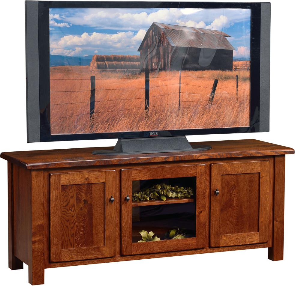 The Barn Door TV Stand is shown in quartersawn white oak