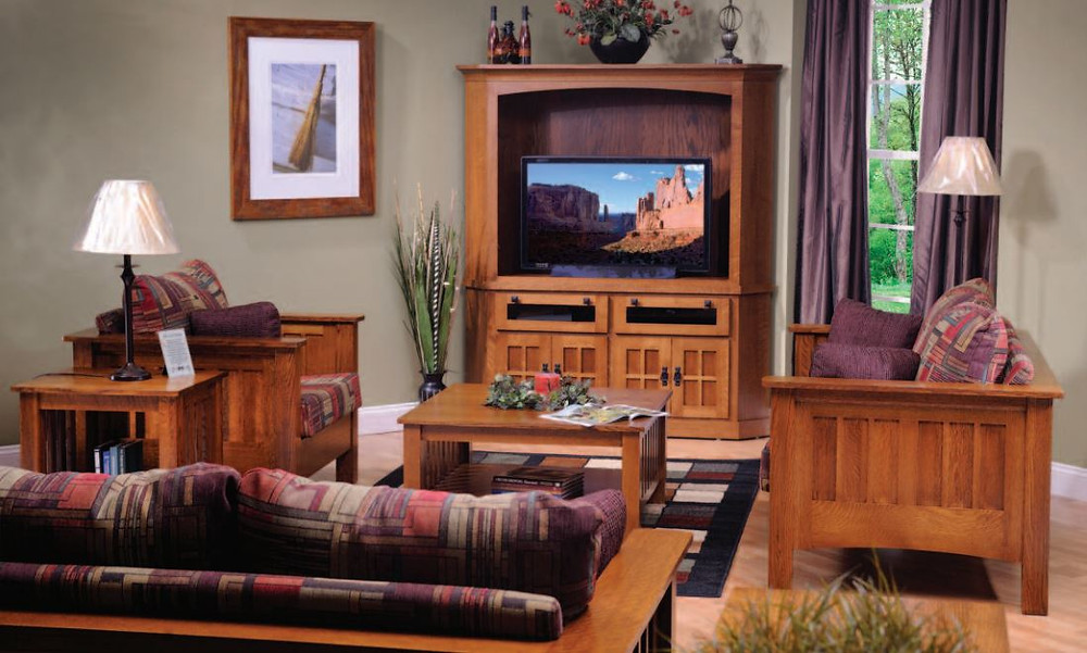 The H&G Mission Corner Entertainment Center is shown in quartersawn white oak with matching coffee table & end table