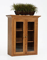 Highland Long Glass Door Hutch for Cabinet | Oak in Fruitwood OCS102 | 33in W x 15in D x 40in H | The Amish Home | Amish Furniture at the Pittsburgh Mills