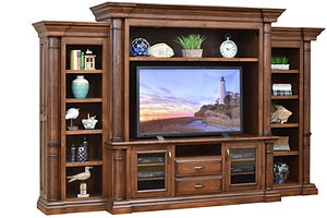 Paris Entertainment Center with side bookcases | Cherry in Chocolate Spice FC-9090 | 144 1/2in W x 25in D x 90 1/2in H | The Amish Home | Amish Furniture at the Pittsburgh Mills