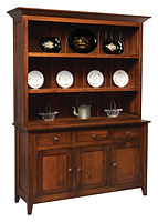 Settlers Ridge 3 Door Hutch with shiplap back|Rustic Cherry in Asbury OCS117|63in W x 19 3/4in D x 83in H|The Amish Home|Amish Furniture at the Pittsburgh Mills