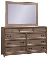 Glendale Tall Dresser with Optional Mirror | Six wide drawers and three narrow top drawers. Inset drawer design with recessed panel. 79 1/2in high with optional mirror. | Rustic Quartersawn White Oak in Barnwood SP-10 | 66in W x 19in D x 41in H | The Amish Home | Amish Furniture at the Pittsburgh Mills