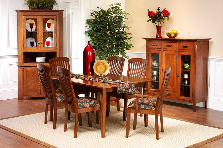 The Kingdom chair with Shaker Leg Table and Classic Shaker Corner Cabinet & Dutch Pantry