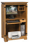 Petite Computer Armoire shown open | Oak in Medium OCS110 | 35in W x 21 1/2in D x 54in H | The Amish Home | Amish Furniture at the Pittsburgh Mills