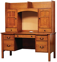 Rivertowne Desk with Hutch | Quartersawn White Oak in Michaels OCS113 | 60in W x 24in D x 66 1/2in H | The Amish Home | Amish Furniture at the Pittsburgh Mills