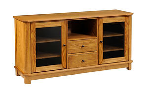 Franchi TV Stand with 2 Glass Doors, 2 Drawers, and Open Shelf | Inset doors with flat glass panel, flush inset drawers, fluted beveled leg styling | Oak in Seely OCS104 | 60in W x 18in D x 30in H | The Amish Home | Amish Furniture at the Pittsburgh Mills