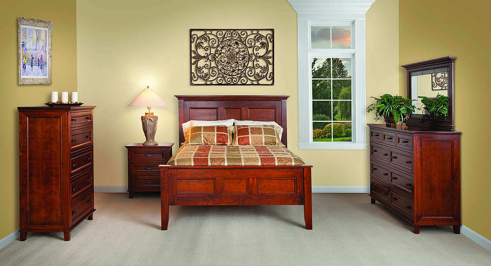 Brooklyn Bedroom: Queen bed, 3-drawer nightstand, dresser, and chest with 5 drawers. Shown in rustic cherry with warm red stain