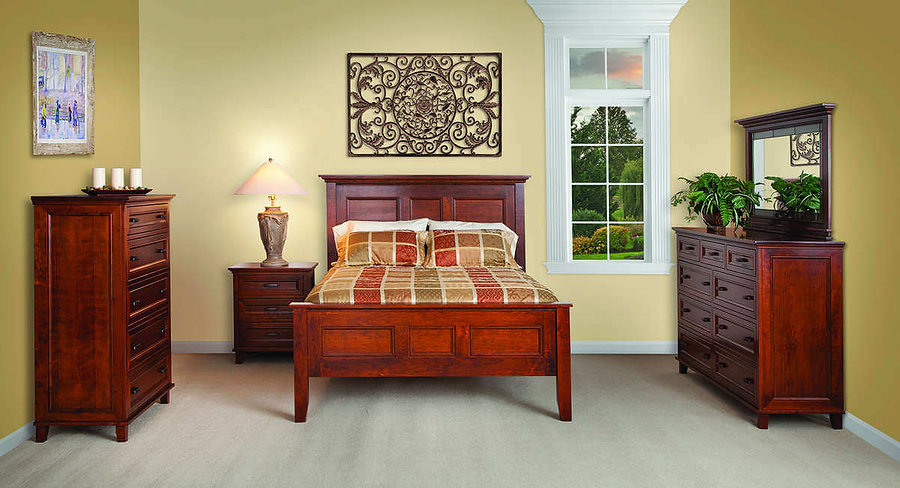 Brooklyn Bedroom Furniture Collection|Brooklyn Panel Bed, Tall Dresser with Mirror, Bureau, 3 Drawer Nightstand|Solid Rustic Cherry in Michaels OCS113|The Amish Home|Amish Furniture at the Pittsburgh Mills