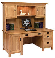 Mission Computer Desk|Quartersawn White Oak in Fruitwood OCS102|75in W x 27in D x 72in H|The Amish Home|Amish Furniture at the Pittsburgh Mills