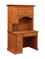 Wayne's Traditional Student Desk with Hutch|Oak in Seely OCS104|43in W x 26in D x 71in H|The Amish Home|Amish Furniture at the Pittsburgh Mills