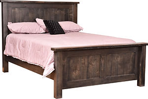 Pilgrim Bed with reclaimed barnwood|Brown Maple in Cappuccino OCS119|Headboard 54in H, footboard 28in H|The Amish Home|Amish Furniture at the Pittsburgh Mills