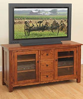 Canted Mission TV Stand|Quartersawn White Oak in Michaels OCS113|56in W x 20in D x 30in H|The Amish Home|Hardwood Furniture at the Pittsburgh Mills