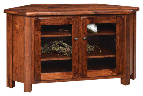Barn Floor Corner TV Stand | Rustic Cherry in Michaels OCS113 | 55in W x 20in D x 30in H, 39 1/2in wall space | The Amish Home | Amish Furniture at the Pittsburgh Mills
