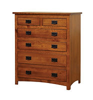 Michael's Mission Chest of Drawers|Quartersawn White Oak in Michaels OCS113|38in W x 19 3/4in D x 44 3/4in H|The Amish Home|Amish Furniture at the Pittsburgh Mills