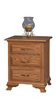 Crown Villa 3 Drawer Nightstand|Oak in Seely OCS104|21 1/2in W x 18 1/4in D x 26 1/4in H|The Amish Home|Hardwood Furniture at the Pittsburgh Mills