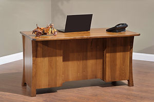 Woodbury Executive Desk shown from back | Brown Maple in Asbury OCS117 | 60in W x 30in D x 30 3/4in H | The Amish Home | Amish Furniture at the Pittsburgh Mills
