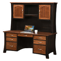 David's Jefferson Desk with optional hutch | Two-toned in Brown Maple and Oak | 68in W x 30in D x 70in H | The Amish Home | Amish Furniture at the Pittsburgh Mills