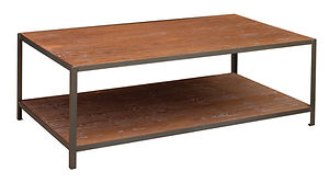 Montgomery Industrial Style Coffee Table with metal base|Metal Base & Oak in Michaels OCS113|54in W x 30in D x 19in H|The Amish Home|Amish Furniture at the Pittsburgh Mills