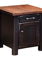 Reclaimed Barn Wood Enclosed End Table|Brown Maple in Onyx OCS230|22in W x 24in D x 24in H|The Amish Home|Amish Furniture at the Pittsburgh Mills