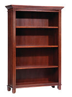 Arlington Bookcase | Adjustable shelves, available with optional doors with wood panels or frosted glass. Euro hinges, full extension drawers, Fluted corner trim with stylish crown molding and 4in fluted feet. | Rustic Cherry in Michaels OCS113 | Many Sizes Available | The Amish Home | Amish Furniture at the Pittsburgh Mills