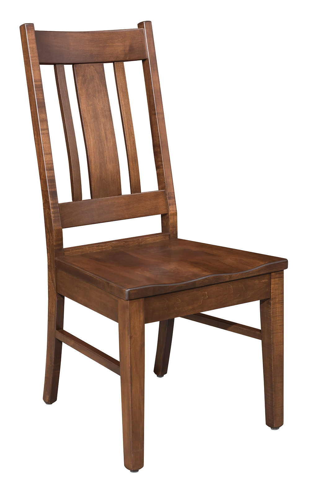 The Mason Side Chair is shown in solid brown maple with coffee stain and is available as an arm chair or a side chair and with wooden seats or padded seats upholstered seats solid hardwood built to order made in the usa amish furniture pittsburgh mills