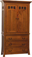 Bridgeport Mission Armoire|Quartersawn White Oak in Michaels OCS113|41 1/2in W x 21 1/4in D x 80in H|The Amish Home|Amish Furniture at the Pittsburgh Mills