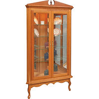 Queen Anne Corner Curio | 4 adjustable shelves with plate groove, mirror back, clear glass, LED touch light, brass plate with lock | Oak in Fruitwood OCS102 | 44in W x 17in D x 79in H, 28in wall space | The Amish Home | Amish Furniture at the Pittsburgh Mills