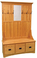 Mission 3-Drawer Hall Seat|Oak in MX OCS103|54 1/2in W x 16 1/2in D x 81in H|The Amish Home|Amish Furniture at the Pittsburgh Mills