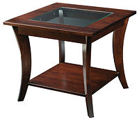 Lehigh End Table with glass insert | Brown Maple in Boston OCS111 | 26in W x 26in D x 25in H | The Amish Home | Amish Furniture at the Pittsburgh Mills
