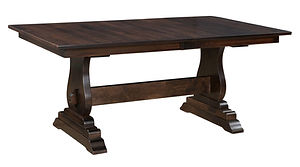 Holland Trestle Table | Shown with rectangular top, eased edge. Butterfly leaf available. | Brown Maple in Rich Tobacco OCS228 | Many Sizes Available | The Amish Home | Amish Furniture at the Pittsburgh Mills