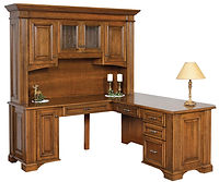 Lincoln L-Desk with Hutch | Brown Maple in Boston OCS111 | 75in W x 71 3/4in D x 79 1/2in H | The Amish Home | Amish Furniture at the Pittsburgh Mills