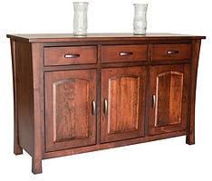 Woodbury 3 Door Buffet with low base|Rustic Cherry in Asbury OCS117|60in W x 20 1/2in D x 37 1/4in H|The Amish Home|Amish Furniture at the Pittsburgh Mills