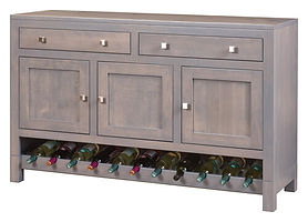 Hampton Meadow Buffet with wine rack|Brown Maple in Cappuccino OCS119|60in W x 18 1/2in D x 38in H|The Amish Home|Amish Furniture at the Pittsburgh Mills