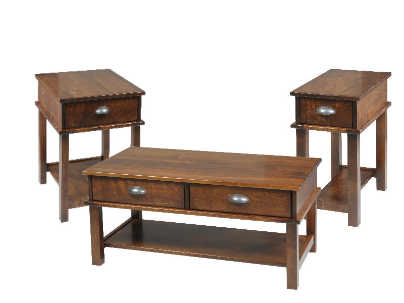 The Wesleyan table collection is shown in rustic cherry