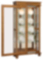 Deluxe Large Sliding Door Curio with Bun Feet|Oak in Medium OCS110|38in W x 14in D x 76 3/4in H|The Amish Home|Hardwood Furniture at the Pittsburgh Mills