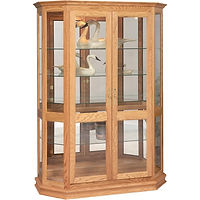Angled Double Door Curio | 4 adjustable shelves with plate groove, mirror back, clear glass, LED touch light, brass plate with lock | Oak in Fruitwood OCS102 | 53in W x 21in D x 72in H | The Amish Home | Amish Furniture at the Pittsburgh Mills