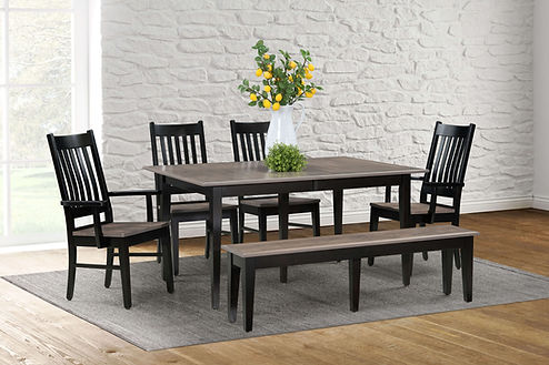 Logan Table with Logan Chairs and Logan Bench, shown with two-tone finish
