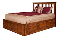 English Shaker Spindle Bed with optional storage|Brown Maple in Michaels OCS113|Headboard 52 3/4in H, footboard 18 3/4in H|The Amish Home|Amish Furniture at the Pittsburgh Mills