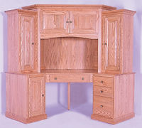 Heirwood 83 Corner Computer Center | Oak in Fruitwood OCS102 | 62 1/2in W x 24in D x 74 3/4in H | The Amish Home | Amish Furniture at the Pittsburgh Mills