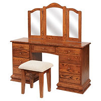 Clockbase Dressing Table | Oak in Michaels OCS113 | 56in W x 17 1/2in D x 30 1/2in H | The Amish Home | Amish Furniture at the Pittsburgh Mills