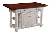 Turned Leg Kitchen Island | 2 Doors, 3 Drawers, 2 Open Shelves, 1 Adjustable Shelf. Shown with cherry plank glued top. | Brown Maple in White Paint | 49in W x 24in D x 34 1/2in H | The Amish Home | Amish Furniture at the Pittsburgh Mills