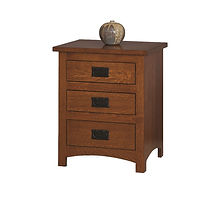 Michael's Mission 3 Drawer Nightstand|Quartersawn White Oak in Michaels OCS113|20 1/2in W x 17 3/4in D x 25 1/2in H|The Amish Home|Amish Furniture at the Pittsburgh Mills