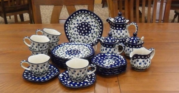 """29 oz Dessert Set for 6 - Bleeding Heart Pattern - Set includes six cups (8oz) with saucers (6""""), six dessert plates (8""""), Pitcher with Lid (30oz), Creamer (12oz), Creamer with Lid (12oz), Sugar Bowl with lid (11oz), and Spoon - Ceramika Artystyczna Bolesławiec Polish Pottery - The Amish Home - Galleria at Pittsburgh Mills Amish Furniture"""