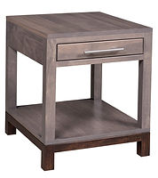 Vienna Amish End Table. Modern end tables with drawer and shelf. Scandinavian inspired living room tables, brown maple with two-tone finish, made in the USA