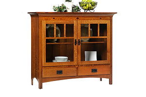 New Classic Mission China Pantry|Quartersawn White Oak in Michaels OCS113|53in W x 20in D x 46in H|The Amish Home|Amish Furniture at the Pittsburgh Mills