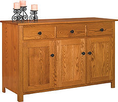 Old South 3 Door Buffet|Oak in Seely OCS104|55 3/4in W x 20in D x 35in H|The Amish Home|Amish Furniture at the Pittsburgh Mills