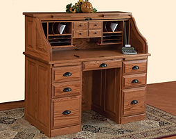 Roll Top Desk|Oak in Fruitwood OCS102|50in W x 26in D x 47 1/2in H|The Amish Home|Amish Furniture at the Pittsburgh Mills