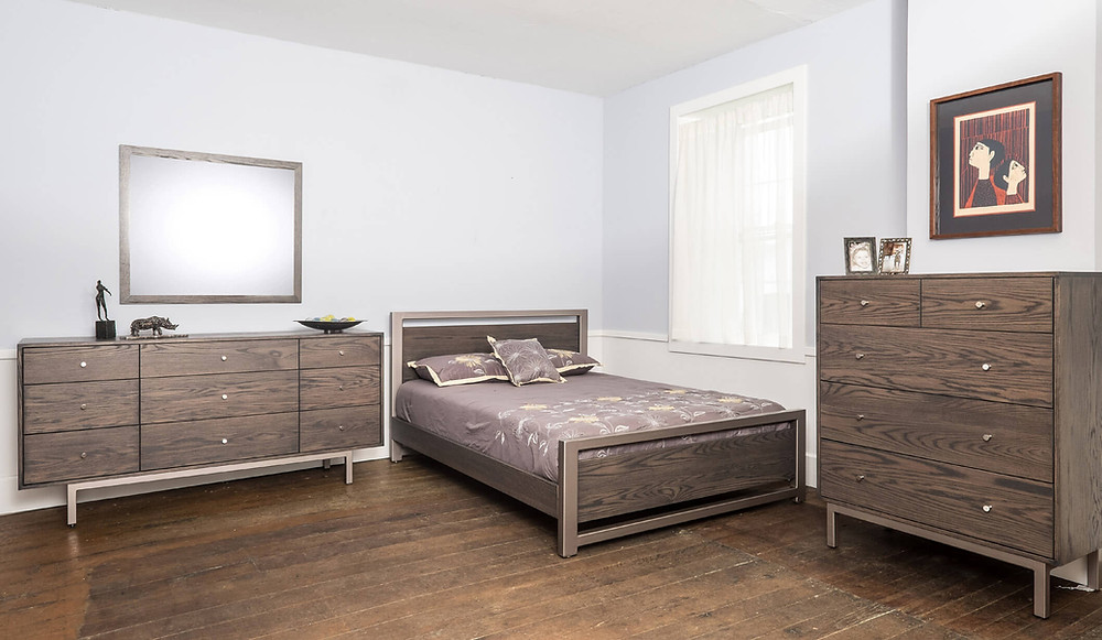 Sullivan Cove Bedroom Furniture Collection|Queen bed, dressr, mirror, chest of drawers|Solid Wire brushed red oak in Charcoal|The Amish Home|Amish Furniture at the Pittsburgh Mills