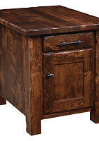 Hand Hewn Enclosed End Table|Rustic Cherry in Medium OCS110|22in W x 24in D x 24in H|The Amish Home|Amish Furniture at the Pittsburgh Mills